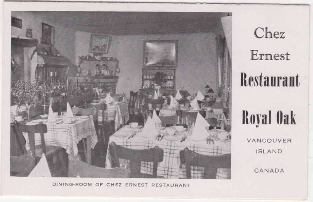 Restaurant Chez Ernest Restaurant, Royal Oak, Victoria; ca. années 1950 (SHFCB 2016.02.79)