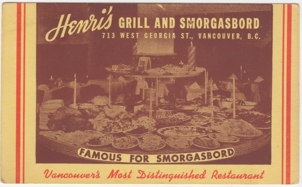 Restaurant Henri's Grill and Smorgasbord, rue Georgia ouest, Vancouver; ca. années 1950 (SHFCB 2016.02.80)