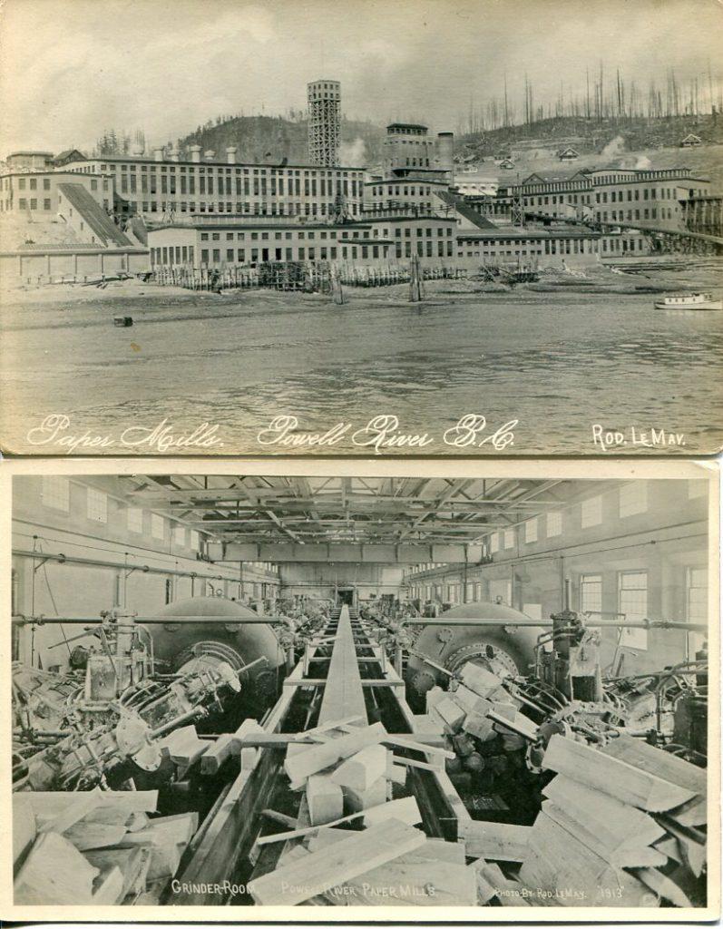 Papeteries, Powell River. Photos par Roldolphe Lemay; ca. années 1910 (SHFCB)