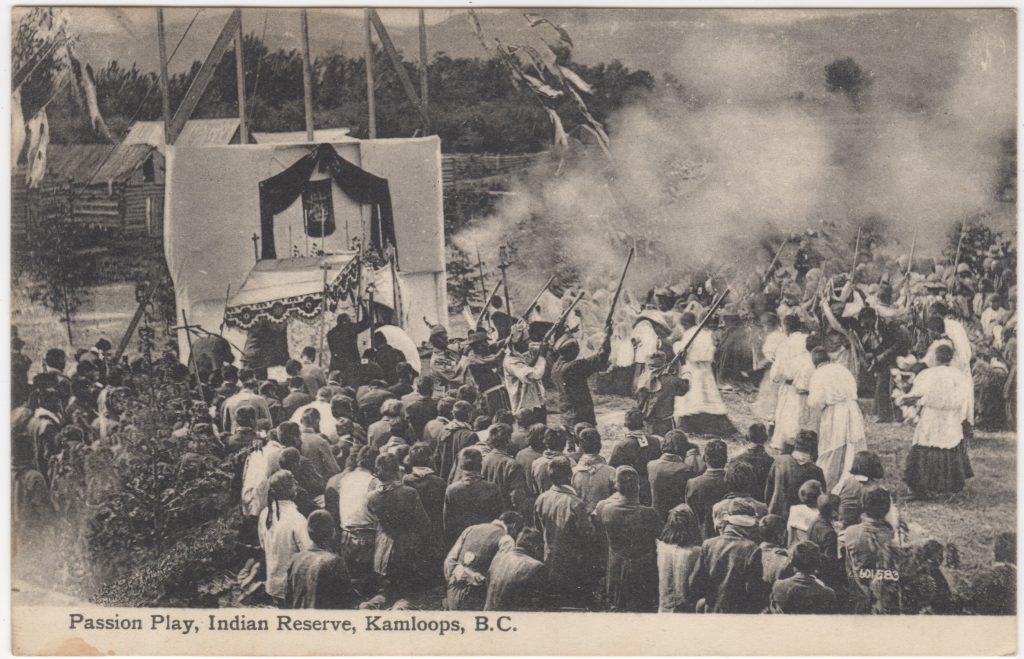 Jeu de la Passion, réserve autochtone, Kamloops; ca. années 1900 (SHFCB)