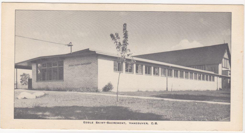 École Saint-Sacrement, rue Heather, Vancouver; postée en 1956 (SHFCB 2016.02.88)