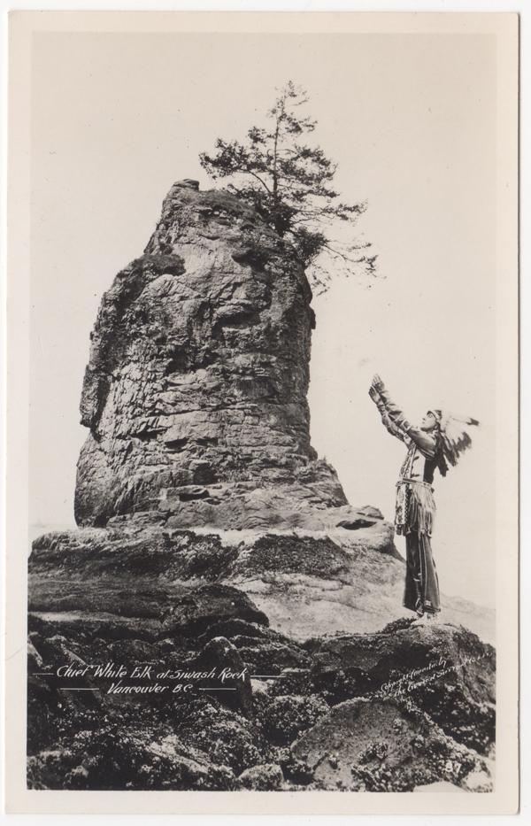 Edgar Laplante, Chief White Elk, Rocher Siwash, Parc Stanley, Vancouver; ca. années 1910 (SHFCB)