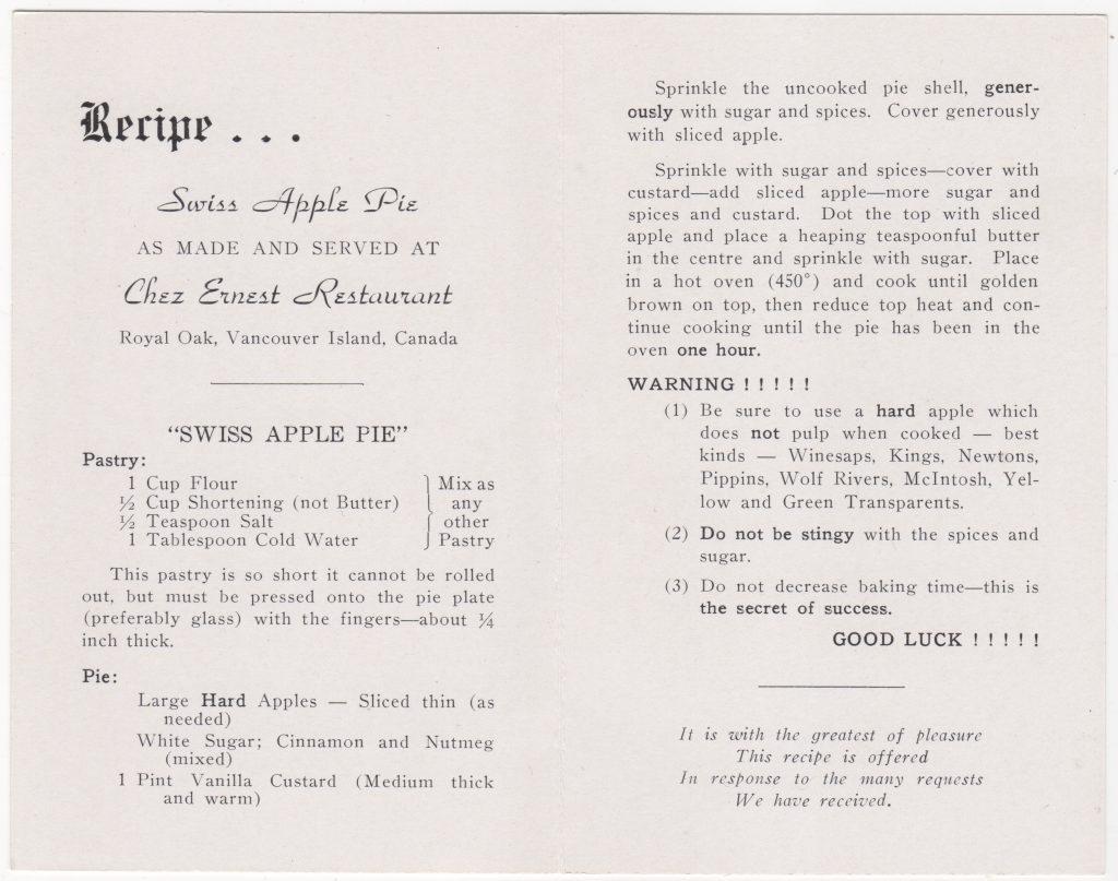 Intérieur, carte postale, restaurant Chez Ernest Restaurant, Royal Oak, Victoria; ca. années 1950 (SHFCB 2016.02.79)