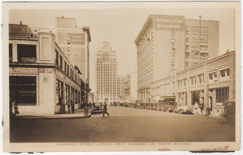 Crédit Foncier Franco-Canadien, rue Hastings ouest, Vancouver; ca. années 1920 (SHFCB 2016.02.77)