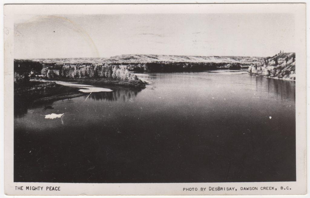 Rivière Peace, photo du photographe DesBrisay; postée en 1953 (SHFCB 2016.02.96)