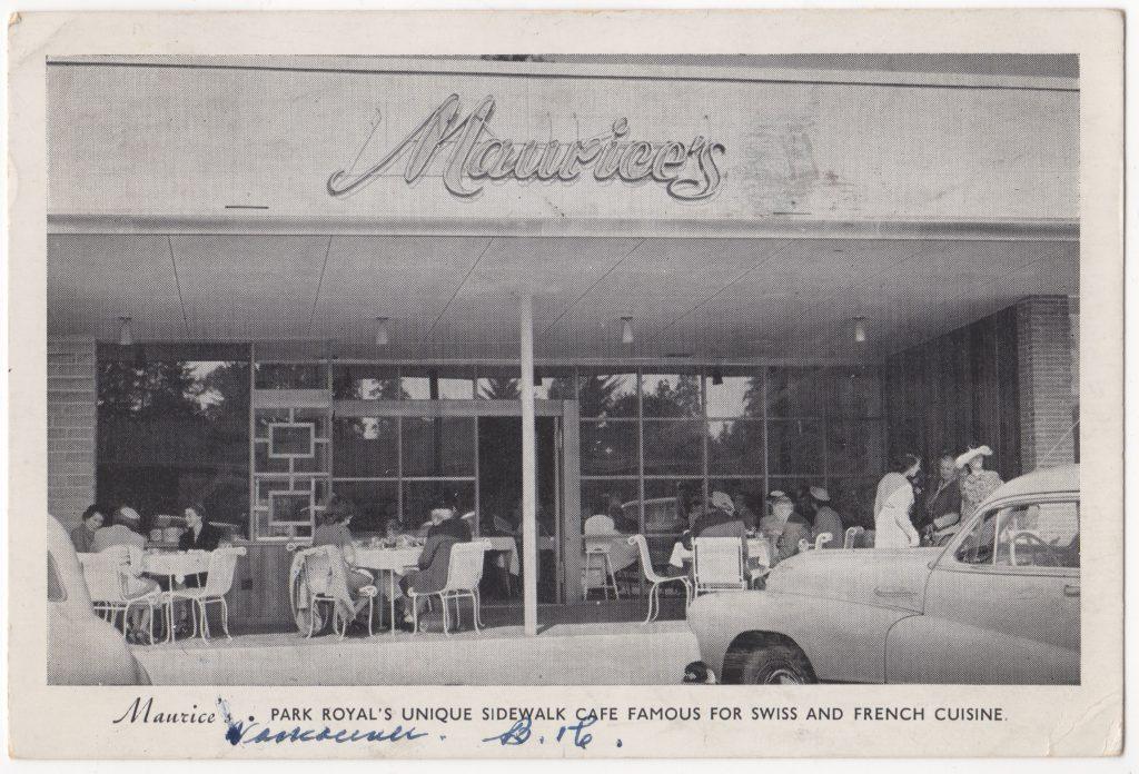 Restaurant Maurice's, centre commercial Park Royal, West Vancouver, postée en 1953 (SHFCB 2016.02.85)
